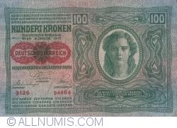 Image #1 of 100 Kronen ND (1919 - old date 02. I. 1912) - Overprint: DEUTSCHOSTERREICH on Oesterreichisch-Ungarische Bank Issue