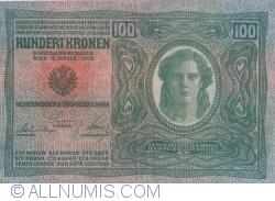 Image #2 of 100 Kronen ND (1919 - old date 02. I. 1912) - Overprint: DEUTSCHOSTERREICH on Oesterreichisch-Ungarische Bank Issue