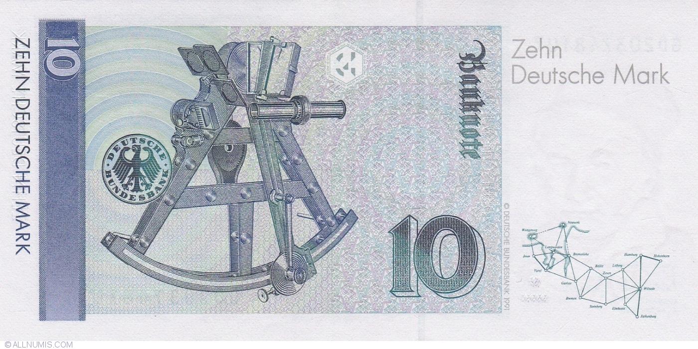 10 Deutsche Mark 1993 1 X 1989 1993 1999 Issue Germany Banknote 1136