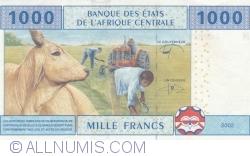 Imaginea #2 a 1000 Franci 2002 - semnături Abbas Mahamat Tolli / Louis Aleka-Rybert