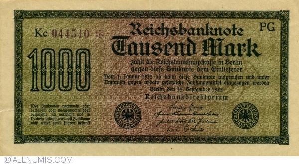 1000 Mark 1922 (15. IX.) - 1, Weimar Republic (Reichsbanknoten) - Treasury  Notes - 1922 Third Issue - Germany - Banknote - 9100
