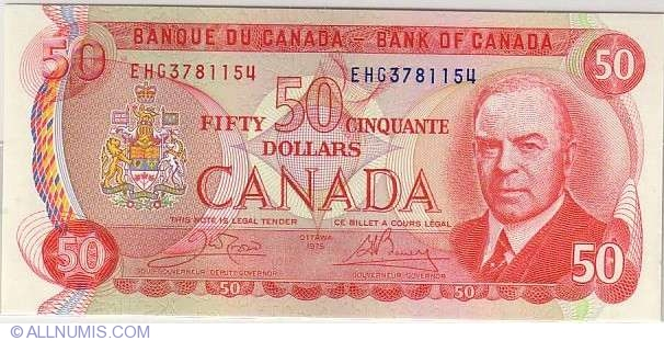 50 Dollars 1975 - signatures Crow-Bouey, 1969-1975 Issue