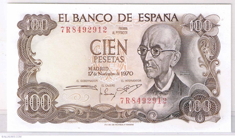 Spain 100  Pesetas  1970  /'/' Manuel  Falla /'/'   UNC