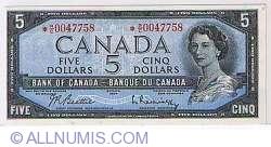Imaginea #1 a 5 Dolari Canadieni 1954 - semnatura Beattie-Rasminsky