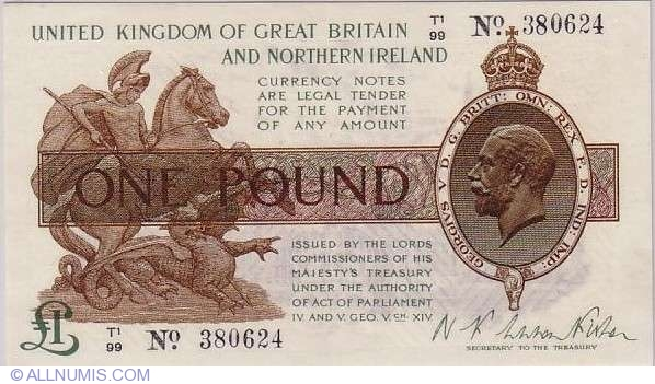 1 Pound 1919, 1919 Issue - Treasury Notes - Great Britain ...