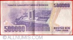 Imaginea #2 a 500 000 Lira L.1970 (1998) - semnături Gazi ERÇEL, Aydın ESEN