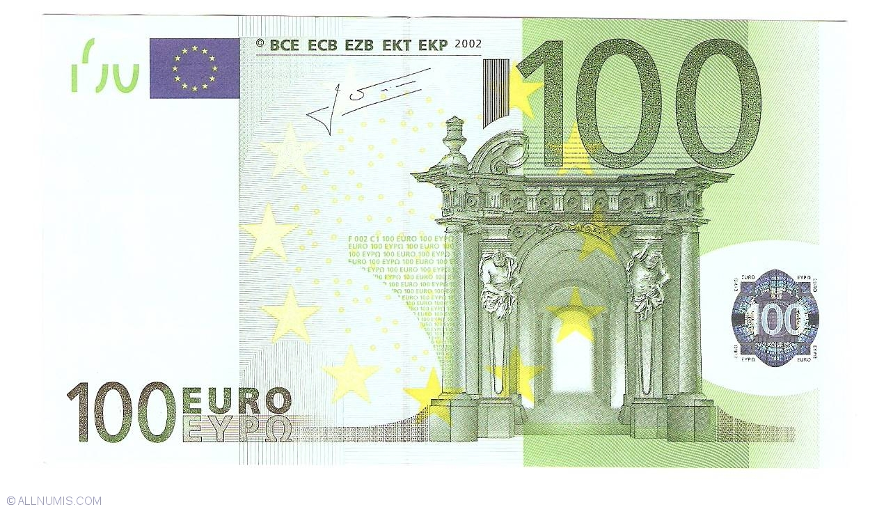 100 euro 2002 n austria 2002 issue 100 euro signature jean claude trichet european. Black Bedroom Furniture Sets. Home Design Ideas