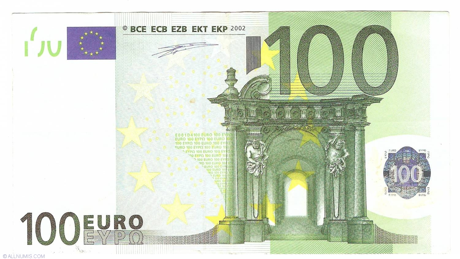 Banknote of 100 euro 2002 u france from european union for Wohnlandschaft 100 euro