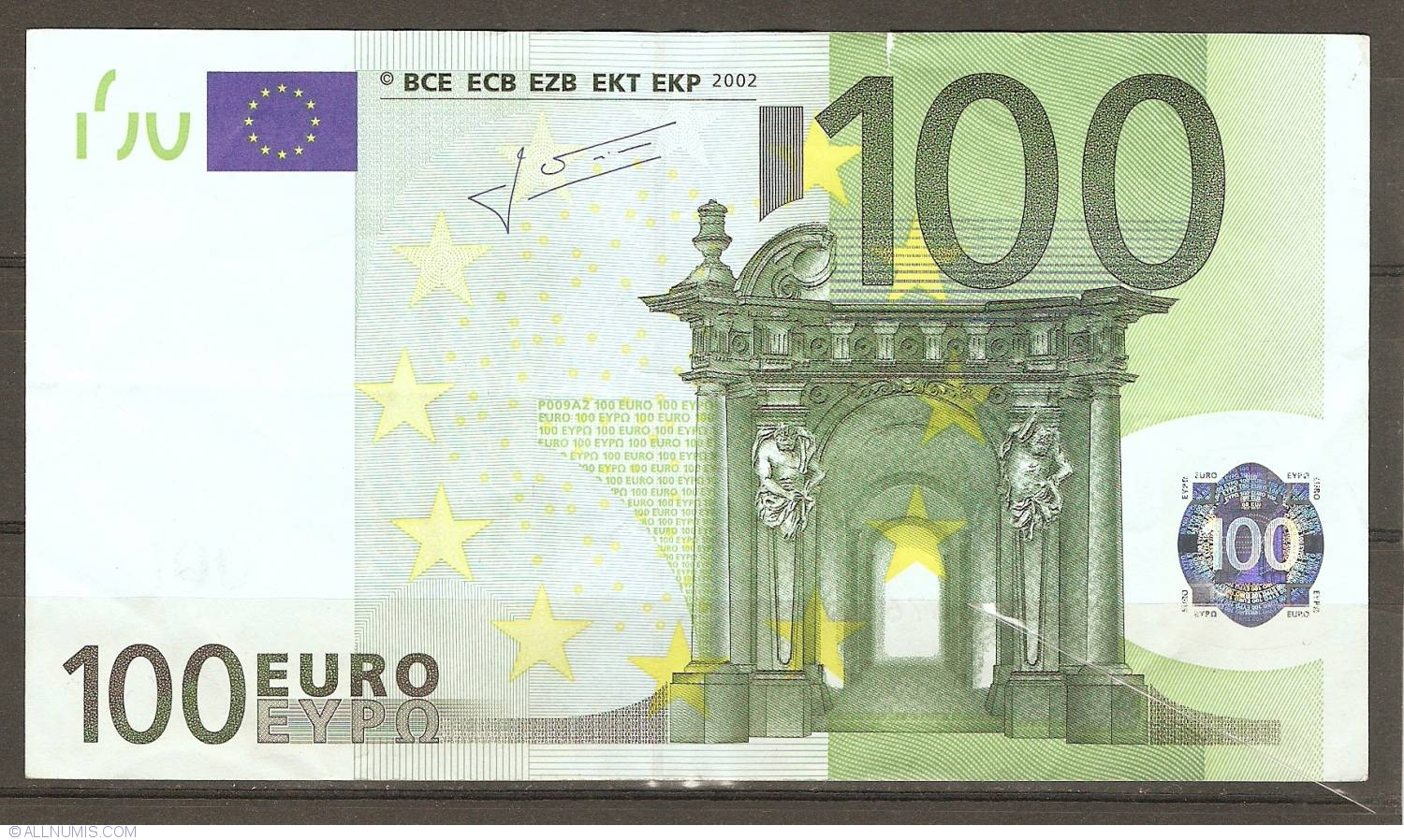 100 euro 2002 x germany 2002 issue 100 euro signature jean claude trichet european. Black Bedroom Furniture Sets. Home Design Ideas