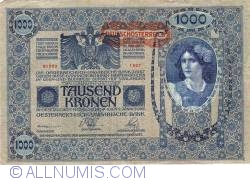 Image #1 of 1000 Kronen ND (1919 - old date 02. I. 1902) Overprint: DEUTSCHOSTERREICH on Oesterreichisch-Ungarische Bank issue