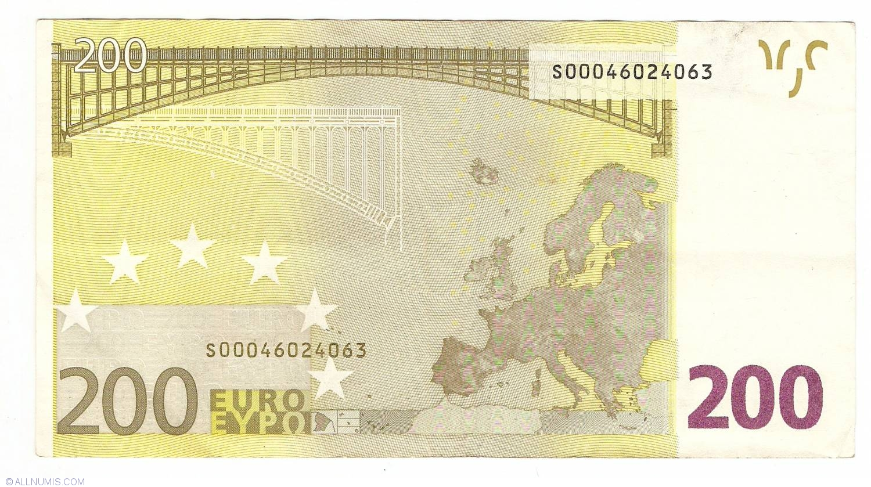 200 Euro 2002 S Italy 2002 Issue 200 Euro Signature