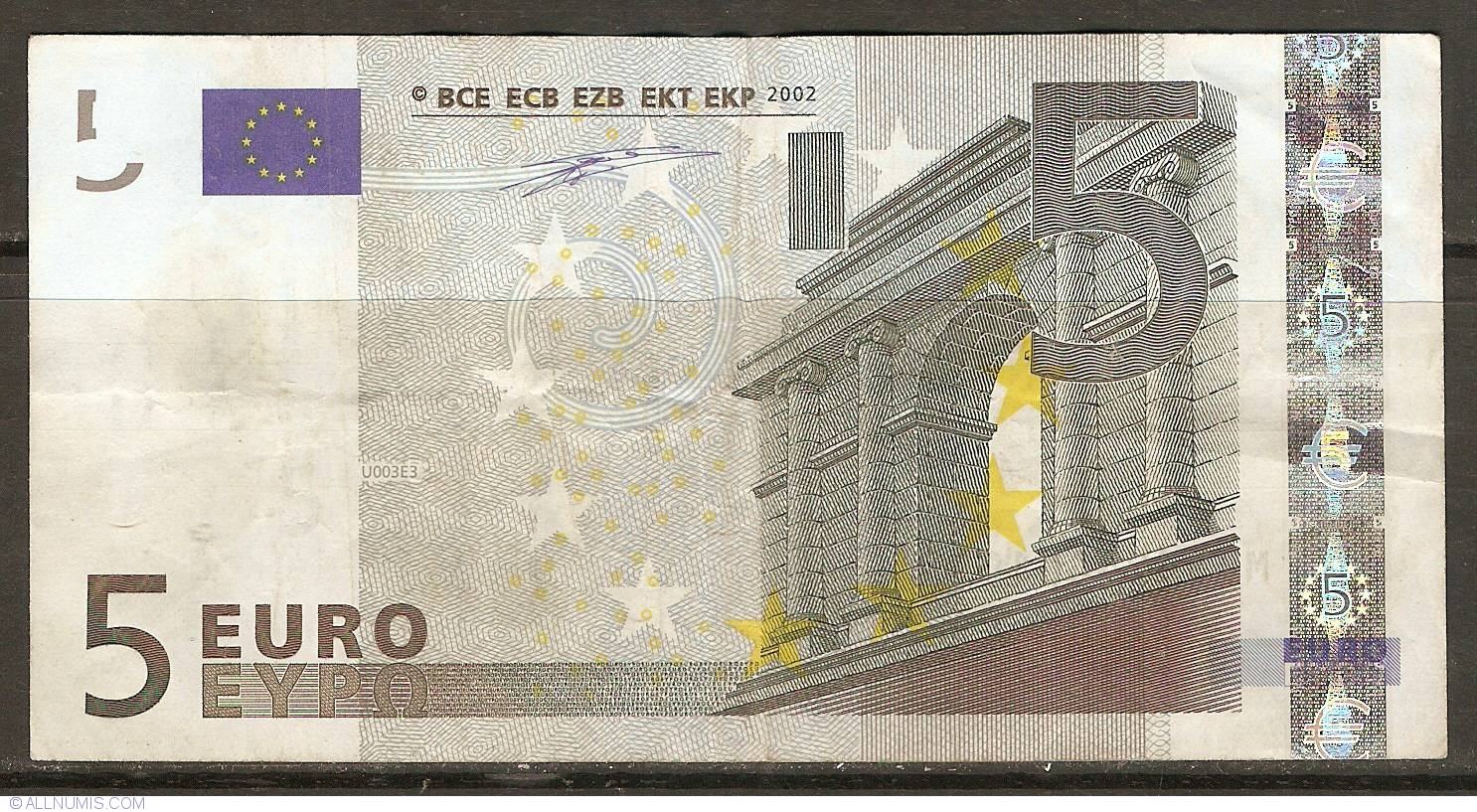 5 euro 2002 m portugal 2002 issue 5 euro signature willem f duisenberg european union. Black Bedroom Furniture Sets. Home Design Ideas
