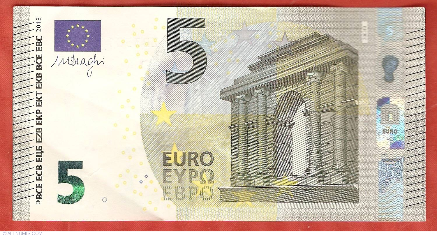 5 euro 2013 z 2013 issue 5 euro signature mario draghi european union banknote 4991. Black Bedroom Furniture Sets. Home Design Ideas