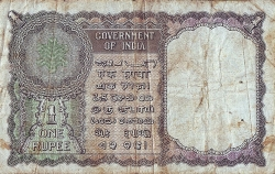 Imaginea #2 a 1 Rupee ND (1949-1950) semnătură K. G. Ambegaonkar