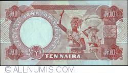 Imaginea #2 a 10 Naira 2001 - Wet ink errors.