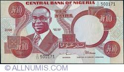Imaginea #1 a 10 Naira 2004 - Printed & cut off centre.