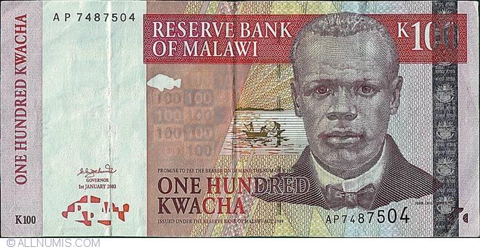 MALAWI 100 KWACHA 2003 AX P 46 UNC