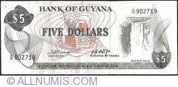 5 Dollars ND (1966-1992) - Cut unevenly along the top & 2nd. '9' in top serial number incompletely printed.