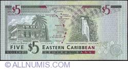 Image #2 of 5 Dolari ND (1994) - L (St. Lucia)