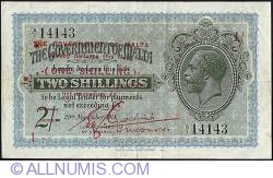 Imaginea #1 a 1 Shilling on 2 Shillings ND (1940 - old date 20.11.1918)issued 1918 2 Shillings.