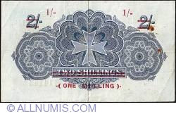 Imaginea #2 a 1 Shilling on 2 Shillings ND (1940 - old date 20.11.1918)issued 1918 2 Shillings.