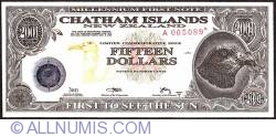 Image #1 of 15 Dollars (1,500 Cents) 2001 B - Replacement note.