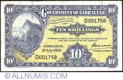 Image #1 of 10 Shillings 1954