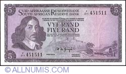 Imaginea #1 a 5 Rand ND (1967-1975) sign T. W. de Jongh - Afrikaans on Top type.