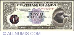 2 Dollars (200 Cents) 1999 A - Faults on the hologram area.